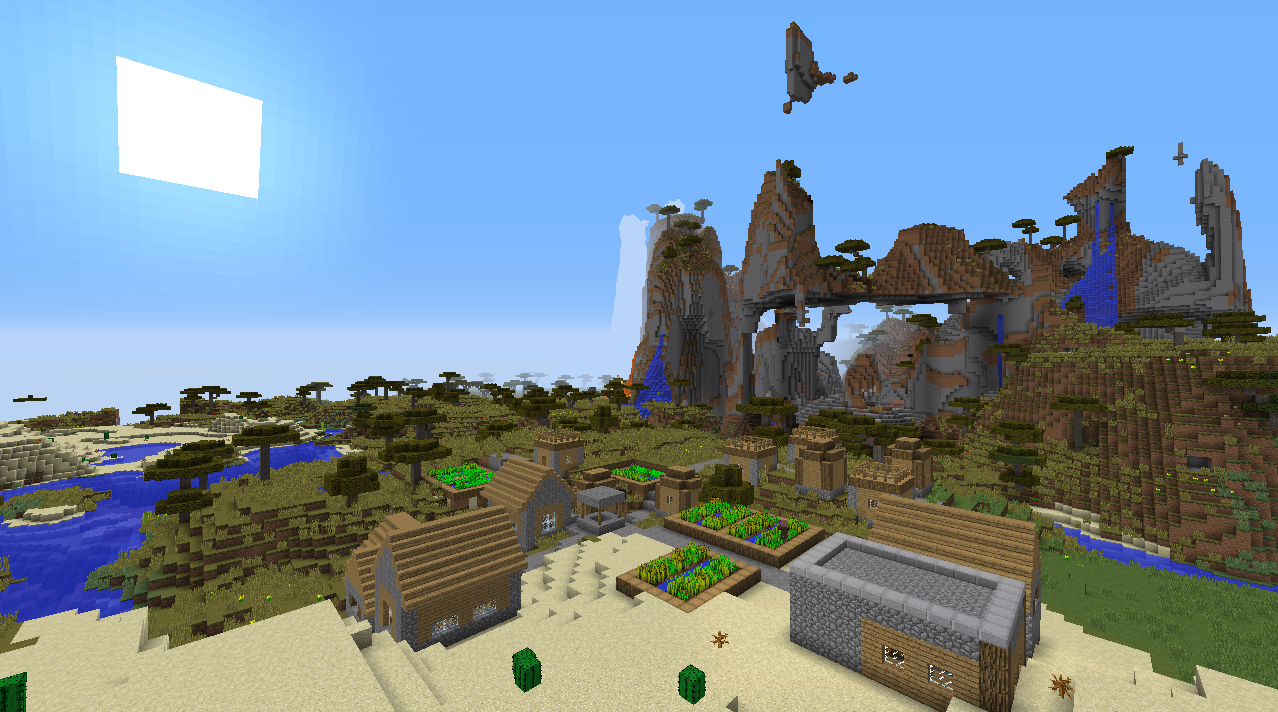 Triple village seed extreme hills Minecraft 1.8.1 villages seeds.png