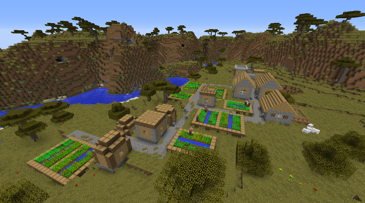 Horse taming saddle village seed Minecraft 1.8.1 at spawn.png