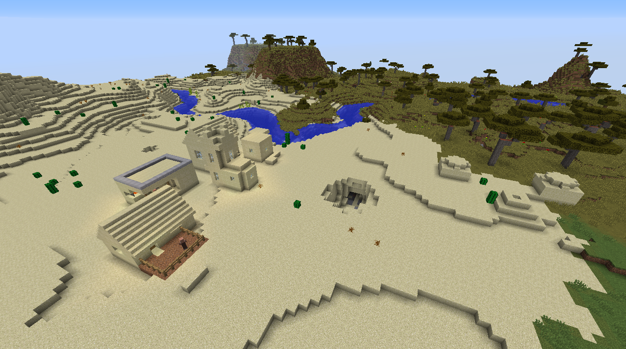 Five diamond village seed buried temple built in Minecraft 1.8.1 seeds.png