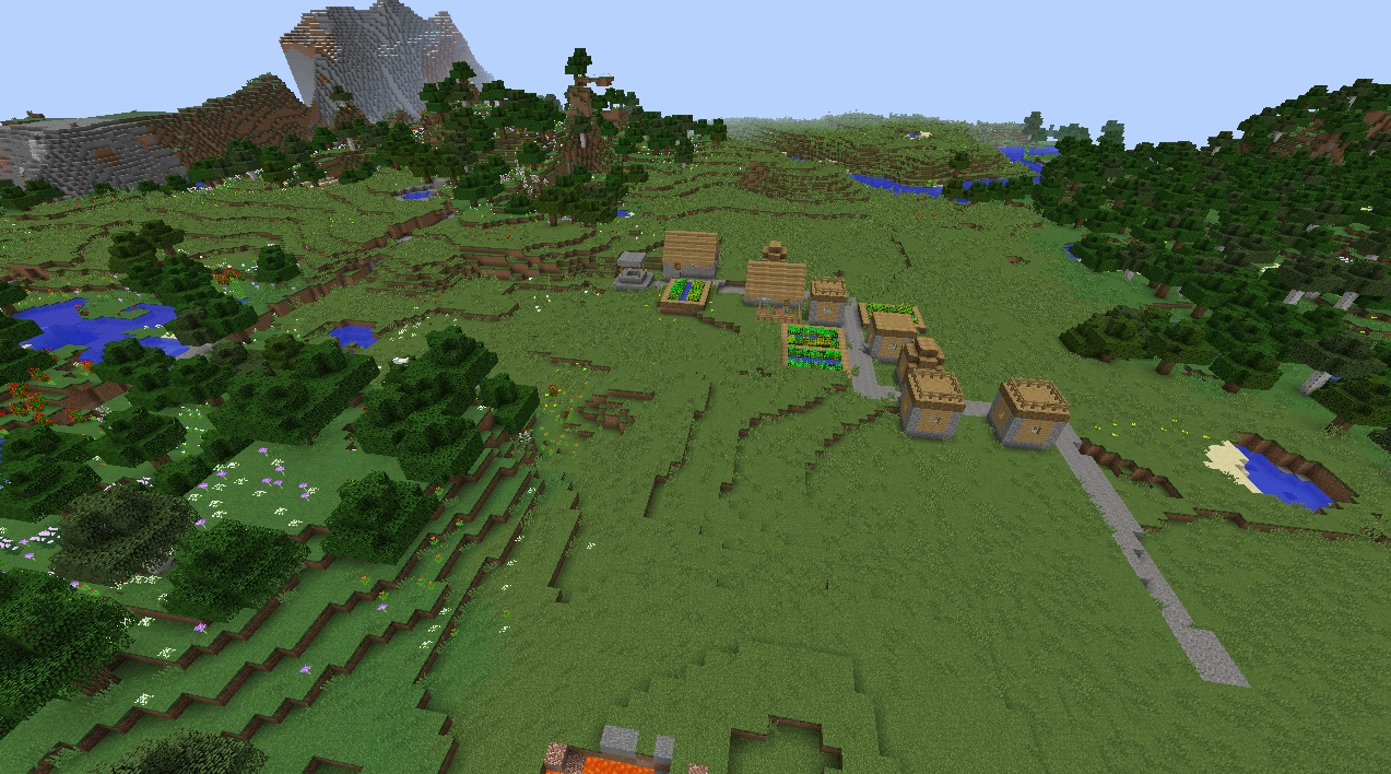 File Minecraft Village Seed With Flower Forest 1 8 3 Lakes