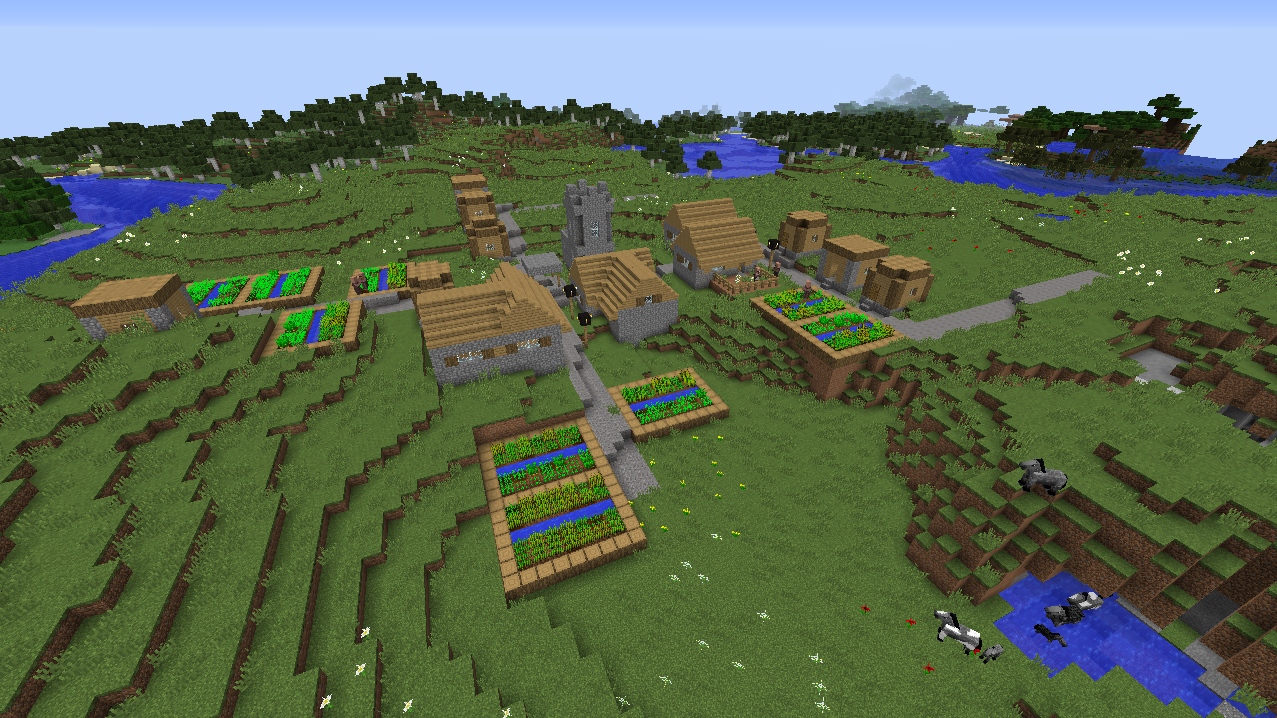 Giant village seed with horses and forests Minecraft 1.8.1.png