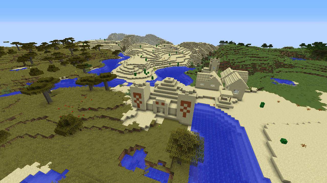 Desert temple built into village seed Minecraft 1.8.1 savanna river.png