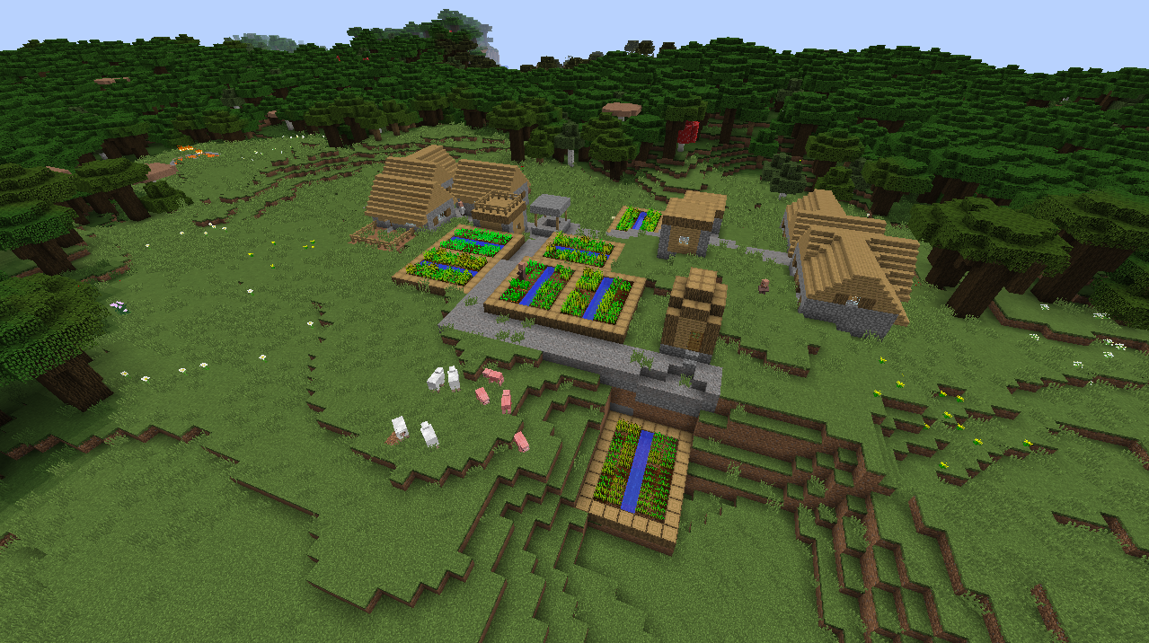 Roofed Forest village seed forest on all sides Minecraft 1.8.1.png