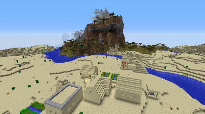 Desert temple 1.8.2 Minecraft seed temple built in by river and savanna mountains biome.png
