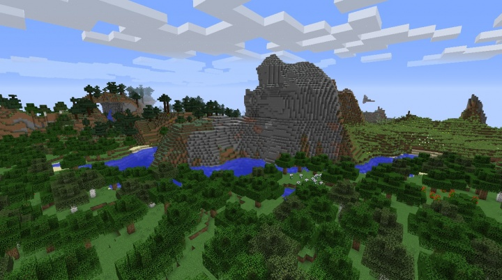 Minecraft 1.8.4 mountain seed with flowers, forests, and cows.jpg