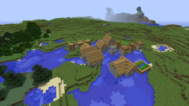 Minecraft 1.9 village seed at spawn water village seed plenty of farms by taiga.jpg