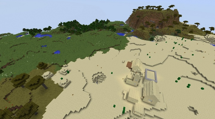 Minecraft village seed with buried desert temple and hole built into village.jpg