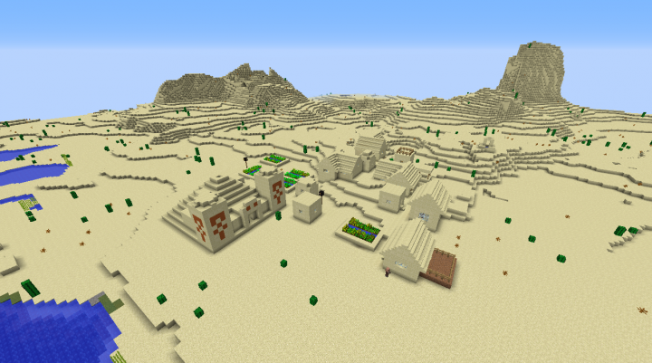 Desert temple in a desert seed for Minecraft 1.8.2 and a village built in by the river.png