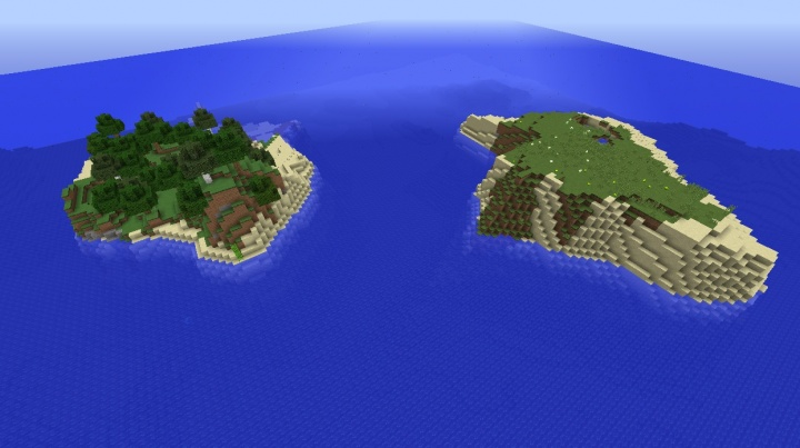 Minecraft 1.8.4 survival island seed with pigs and trees islands.jpg