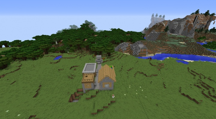Minecraft village seeds tiny village by mountains and roofed forest mushrooms villagers.jpg