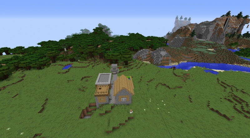 File:Minecraft village seeds tiny village by mountains and roofed forest mushrooms villagers.jpg