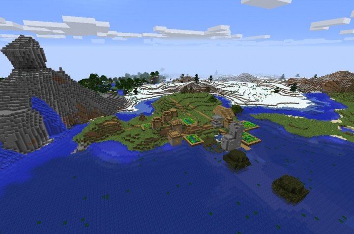 Minecraft 1.12.1 snow village seed by mountains.jpg