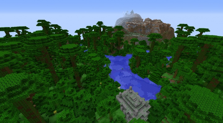 Minecraft 1.8.3 jungle seed with temple at spawn 2 diamonds extreme hills snow.jpg