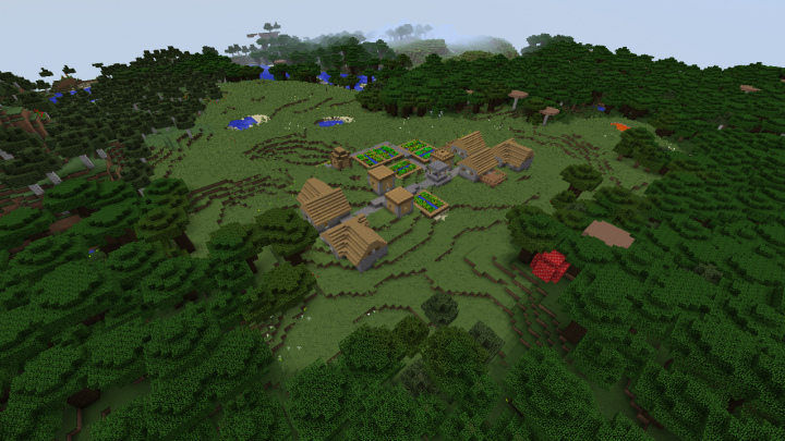 Roofed forest Minecraft 1.8.1 village seed caves.png