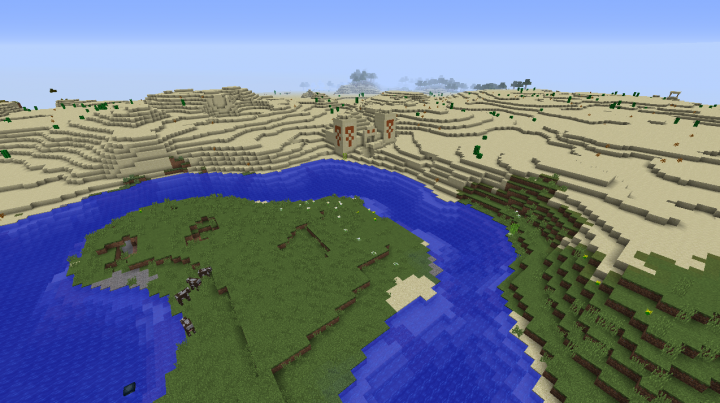Desert temple Minecraft 1.8.2 seed plains cows river well forest.png