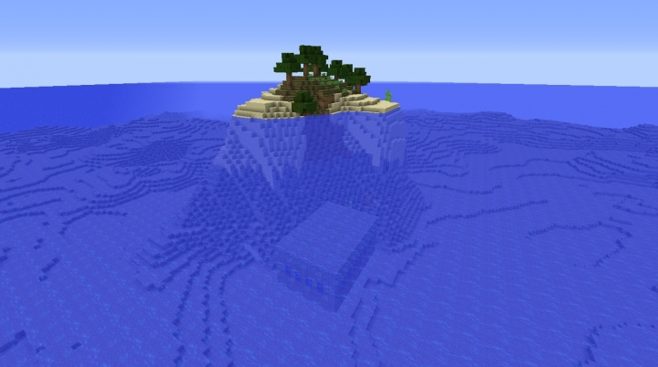Minecraft 1.8.3 survival island seed with stronghold underwater nearby end portal trees islands seeds.jpg