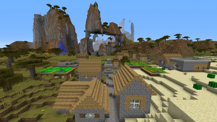 Minecraft village seed three villages 1.8.3 and more versions desert grass mountains.jpg