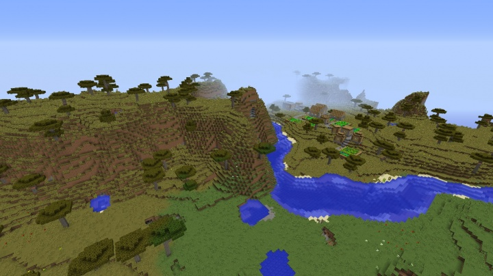 Minecraft savanna village seed with plains, rivers, ponds, and more.jpg