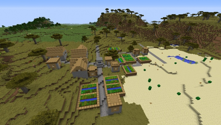 Minecraft 1.8.4 savanna seed with villages temples diamonds horse armor saddle villagers.jpg