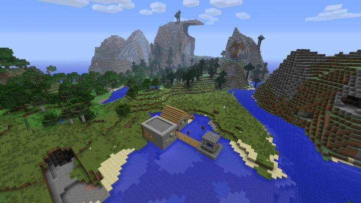 Minecraft PS4 tiny village seed by mountain.jpg