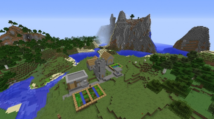 1.9 Minecraft village seed with blacksmith by mountains and forest.jpg