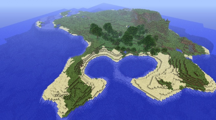 Minecraft 1.5.2 island seed paradise with dangerous pitfalls.jpg