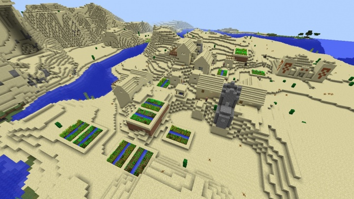 Minecraft 1.11 desert temple seed built into village.jpg