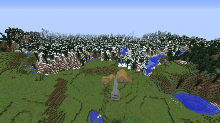 Minecraft snow seed 1.8.3 with snow forest in plain sight of Minecraft 1.8.3 village seed.jpg