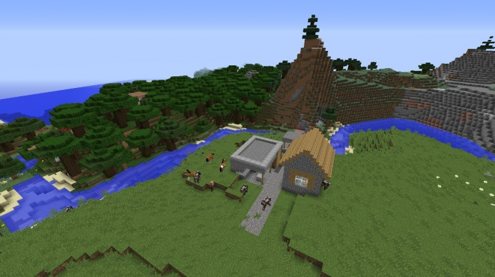 Minecraft tiny village seed with roofed forest and extreme hills by grassland plains.jpg