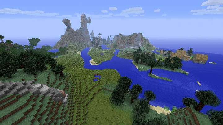 Minecraft Xbox 360 mountain seed with village and ocean nearby.jpg