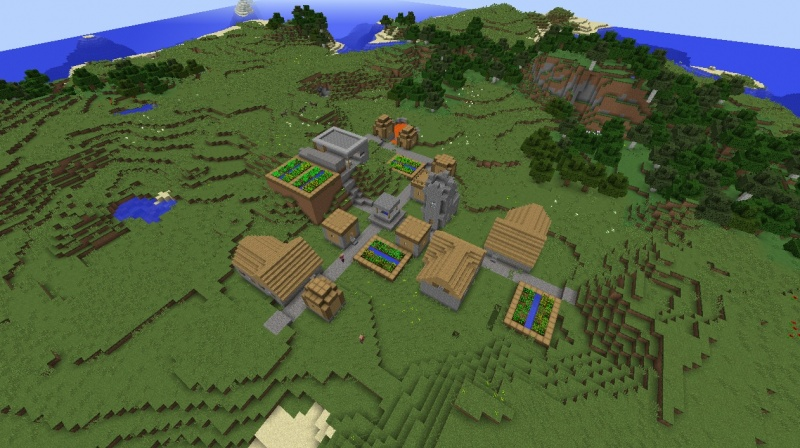 File:Minecraft horse taming seed village with lava diamonds and armor saddle cool.jpg