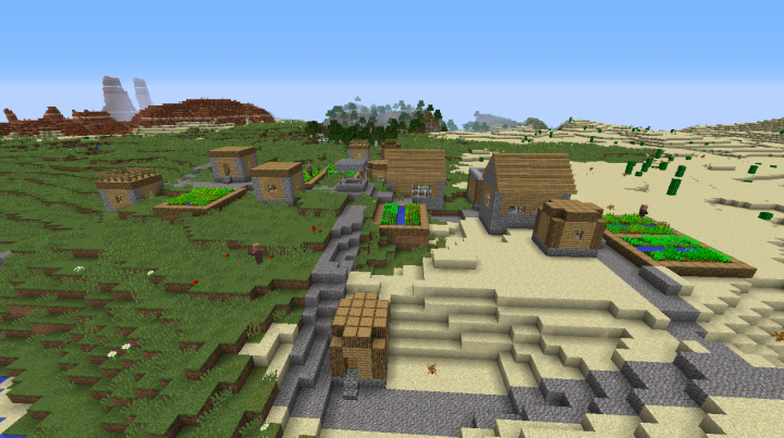 Flower forest village seed Minecraft 1.8.2 mesa desert plains nearby too.png