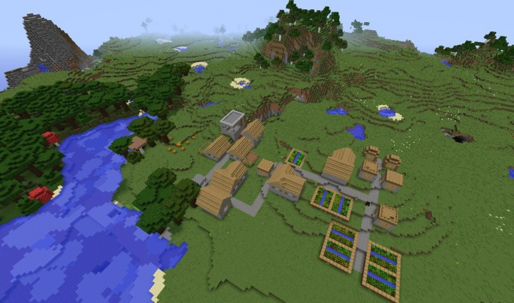 Minecraft 1.8.7 village seed with tall blacksmith, forest, mountains, caves, plains, grasslands, and more.jpg