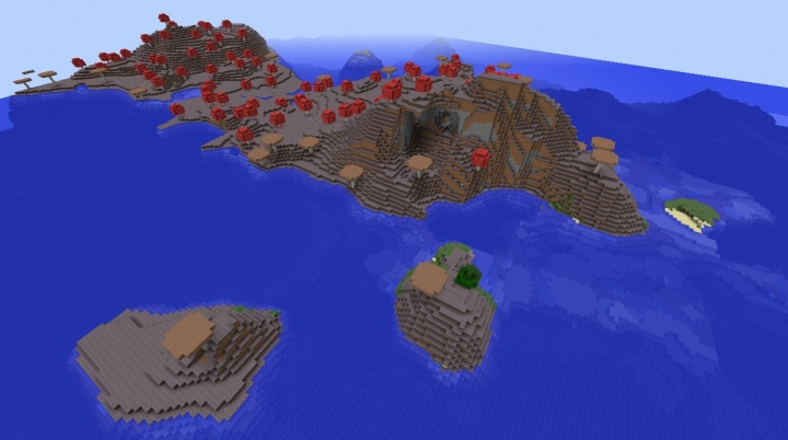 Minecraft mushroom island seed 1.8.3 actual island long strip multiple islands giant mushrooms.jpg
