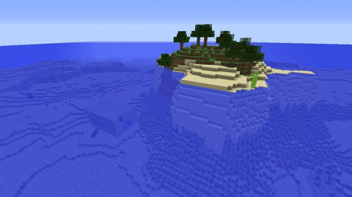 Minecraft 1.8.3 survival island seed stronghold underwater end portal right there multiple trees.jpg