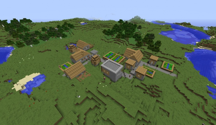 Minecraft village 1.8.7 seed 2 diamonds and 6 attack damage iron sword in plains by desert.jpg