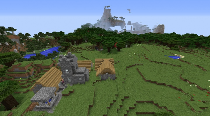 Minecraft village seed by roofed forest and savanna mountain weird village strange fun cool interesting.jpg