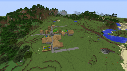 Grasslands Minecraft village seed 1.8.2 forest river taiga island double villages plains.png