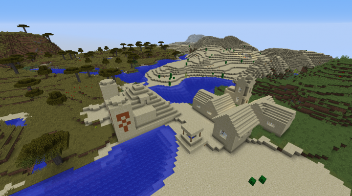 Desert temple diamond village seed Minecraft 1.8.2 by plains and savanna with forest nearby.png
