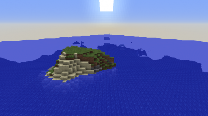 Lifeless survival island seed for Minecraft 1.8.2 with an ocean monument nearby and no trees at all.png