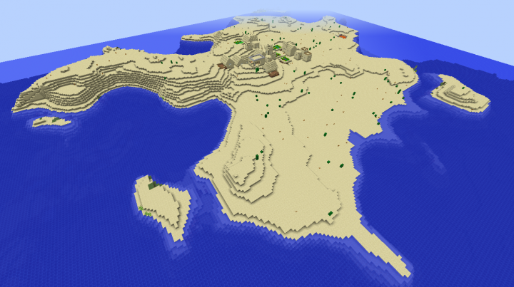Island village seed Minecraft 1.8.2 desert island big village blacksmith houses church.png