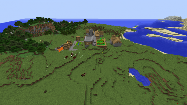 Plains village seed Minecraft 1.8.2 penninsula village horse taming village lava saddle diamond.png