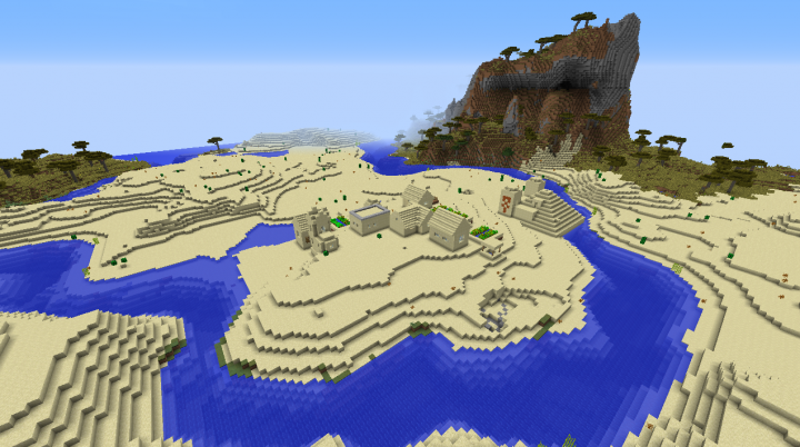 Desert penninsula village seed Minecraft 1.8.2 river around the village savanna mountain nearby.png