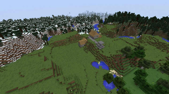 Minecraft snow village seed 1.8.3 with plains lakes rivers and normal taiga forest nearby.jpg