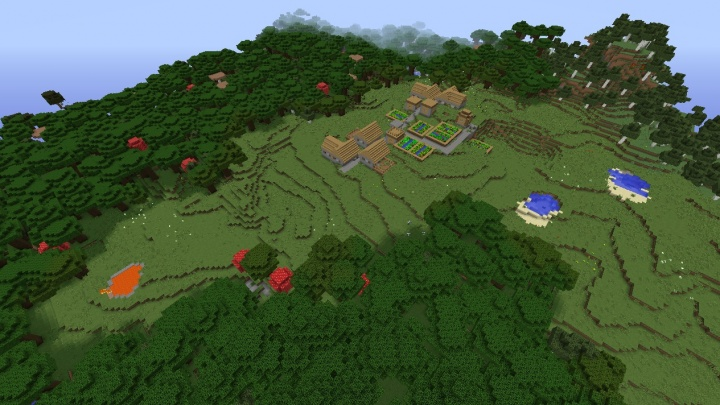 Minecraft roofed forest seed with village lava ponds and birch.jpg