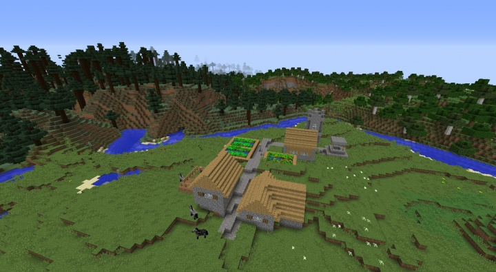Minecraft village seed 1.8.3 butcher church mega taiga forest flower plains 1.8.3 Minecraft.jpg