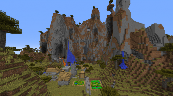 Mountain village seed Minecraft 1.8.2 savanna mountains big village big hills.png