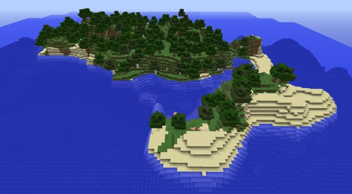 Minecraft 1.8.4 island seed with pigs and chickens and trees.jpg