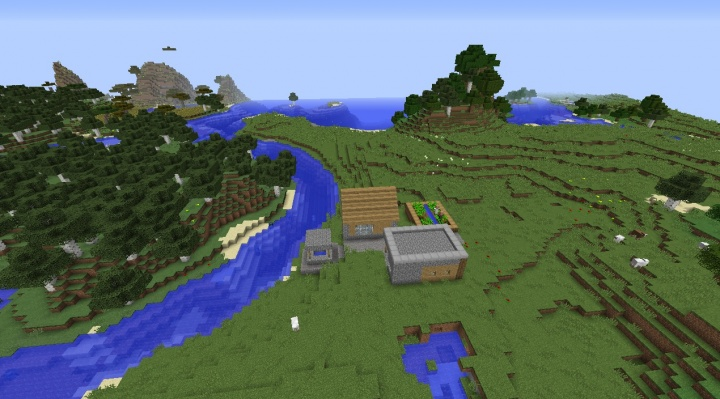 Small Minecraft village seed with blacksmith by birch forest with sheep.jpg