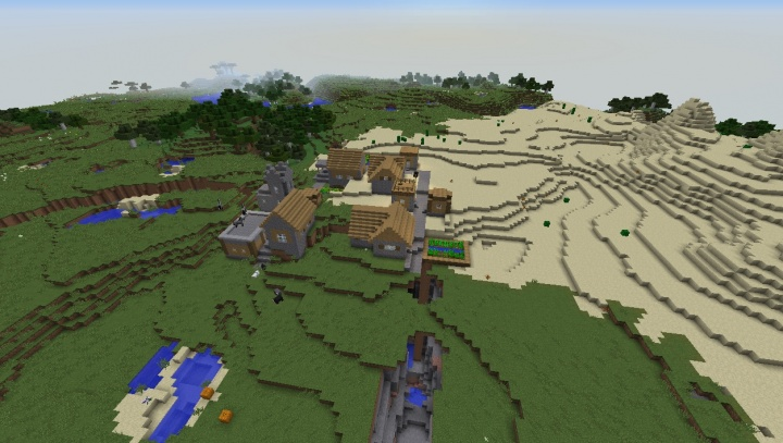 Minecraft village seed animals horses pigs fissures big village cool plains desert flower forest.jpg